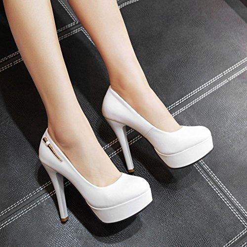 Mee Shoes Damen hocher Absatz Plateau runde Pumps Weiß