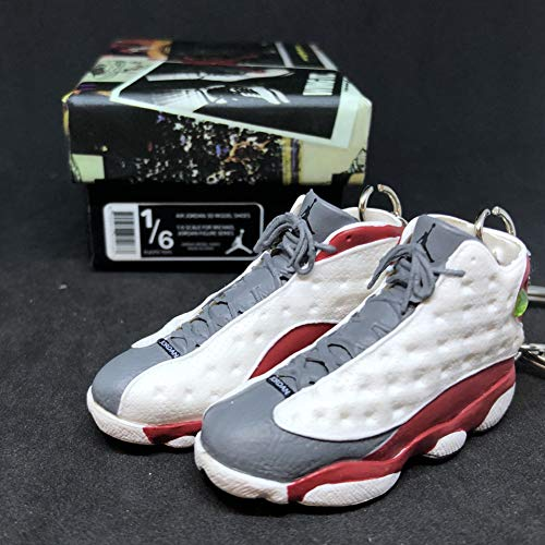 Pair Air Jordan XIII 13 Retro Grey Toe White Red Flint OG Sneakers Shoes 3D Keychain 1:6 Figure + Shoe Box (Air Jordan 13 White Red Flint Grey)