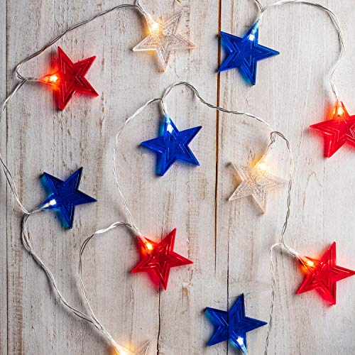 Lights4fun, Inc. 12 Red, White and Blue Star Indoor Battery Operated String Lights