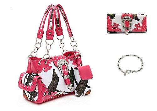 Concealed Weapon Carry Gun Snow White Camo Purse Wallet Bracelet Set Pink (Snow White Handbag)