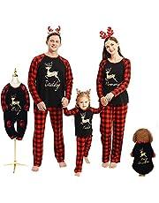 Familie Kerst Bijpassende Pyjama Outfits Elk Plaid Nachtkleding Nachtkleding Xmas Pyjama Vakantie Loungewear voor Papa Moeder Kids Baby Pet