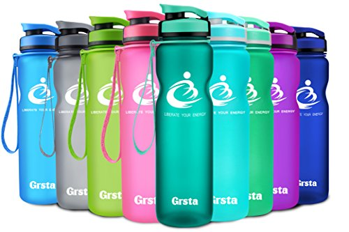 Grsta Sport Water Bottle 32oz(1000ml), Wide Mouth Leak Proof BPA Free Eco-Friendly Plastic Drink Best Water Bottles for Outdoor/Running/Camping/Gym Flip Top Lid & Filter Open with 1-Click (Mint Green)