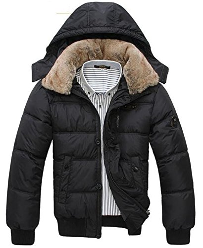 Parka Jacket Men Long Thick Warm Men Coat Hot Jacket Men Parka Leisure Wear Plus Size Black White Black M by Feilongzaitianba