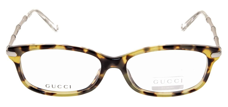 deb2a6efc3 Amazon.com  GUCCI 3801 Silver Metal Bamboo Havana Bio Based RX Eyeglasses  52mm  Clothing