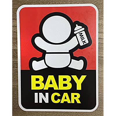 Brightt Set of x2 Baby On Board Safety Stickers for All Cars Trucks SUV (Work for All Type Bumpers/Window) Premium Quality (Light/Night time Reflective) Safety Caution Vinyl Decal Sign (Design 4): Automotive
