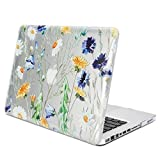 GMYLE See Through Floral Pattern Soft-Touch Glossy Hard Case Cover for Old MacBook Pro 13 inch with CD-ROM (Model: A1278) [2009-2014 Release]