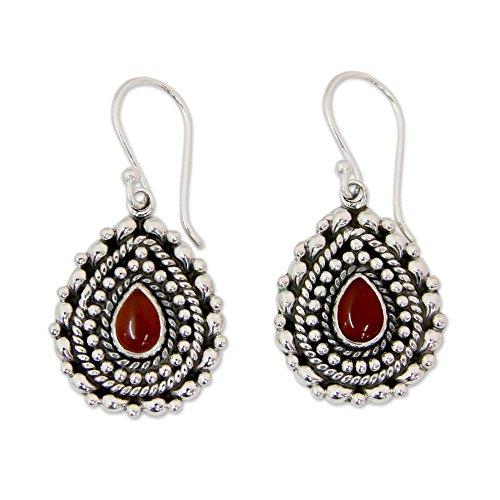 (NOVICA Onyx .925 Sterling Silver Dangle Earrings 'Tears of Fire')