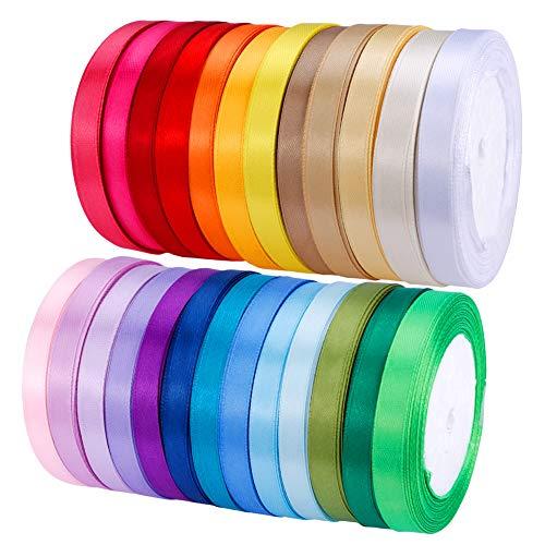 25 Colors 625 Yard Fabric Ribbon Silk Satin Roll Satin Ribbon Rolls in 2/5 Wide, 25 Yard/roll,25 Rolls,Satin Ribbon Fabric Ribbon Embellish Ribbon Ribbon for Bows Crafts Gifts Party (Yellow Ribbon Army)