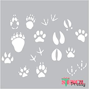 Animal Paws Stencil - Bear Dog Duck Claws & Hooves Template Best Vinyl Large Stencils for Painting on Wood, Canvas, Wall, etc.-XS (11