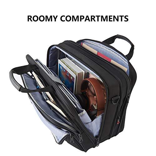 KROSER 18'' Laptop Bag Premium Laptop Briefcase Fits Up to 17.3 Inch Laptop Expandable Water-Repellent Shoulder Messenger Bag Computer Bag for Travel/Business/School/Men/Women-Black by KROSER (Image #5)