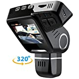Pruveeo H1-Plus Dual Dash Cam with 32GB Card, Front and Rear Dual Channel, 2.0'' LCD FHD 1080P 170 Degree Wide Angle Dashboard Camera for Cars Driving Recorder DVR