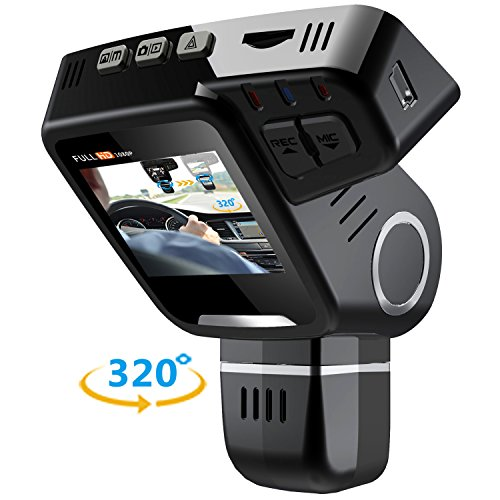 "Pruveeo H1-Plus Dual Dash Cam with 32GB Card, Front and Rear Dual Channel, 2.0"" LCD FHD 1080P 170 Degree Wide Angle Dashboard Camera for Cars Driving Recorder DVR"