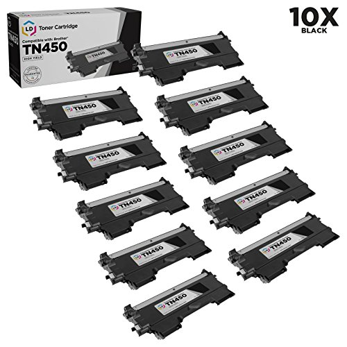 LD © Compatible Brother TN450  Set of 10 High Yield Bla