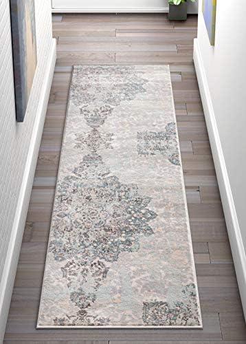 Well Woven Stella Blue Damask Modern 2×7 2 3 x 7 3 Runner Area Rug Mint Blue Gold Distressed Oriental Carpet