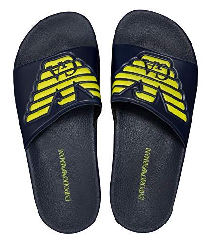 Armani Men's Emporio Eagle Crest Slide Sandles UK 6 Blue (Women Armani Slippers)