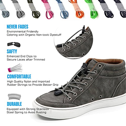 No Tie Shoelaces, UNIKOS Elastic Shoe Laces for Kids and Adults for Sneaker Marathon Running Working Shoe Hiking Boots (Gray White . BK) by UNIKOS (Image #4)