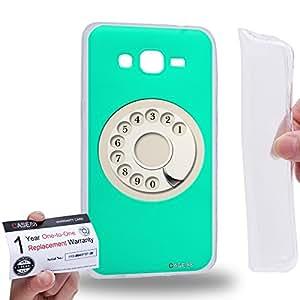 Case88 [Samsung Galaxy Grand Prime] Gel TPU Carcasa/Funda & Tarjeta de garantía - Art Hand Drawing Aqua Retro Phone Art2085