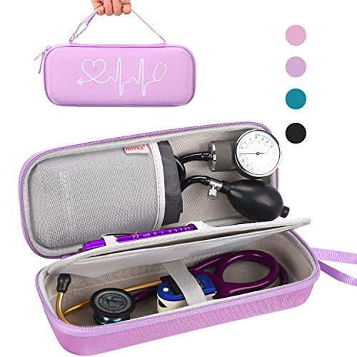 BOVKE Carrying Case for 3M Littmann Classic III, Lightweight II S.E, Cardiology IV Diagnostic, MDF Acoustica Deluxe Stethascopes - Extra Room for Taylor Percussion Reflex Hammer and Penlight, Purple
