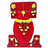 mayoo Floret Yellow Gota Patti Necklace, Earrings, Bracelet & Maang Tika for Women & Girls (Mehandi/Haldi)