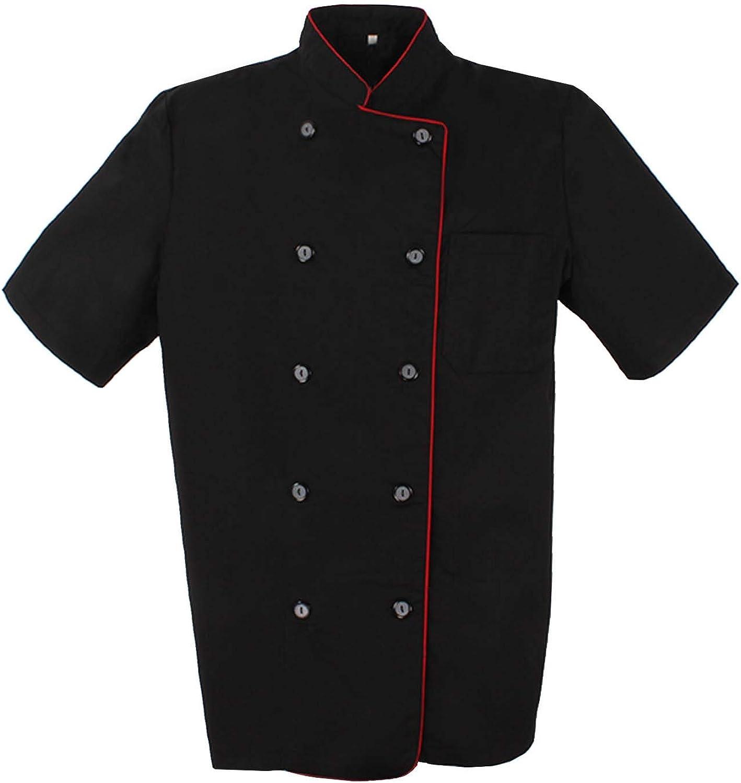 Ref.8421B Giacche Cuoco Chef Giacche Uomo Fantasia Signore con Bottone RIFORMATO Large Nero MISEMIYA