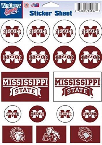 Wincraft NCAA Mississippi State University Vinyl Sticker Sheet, 5'' x 7''