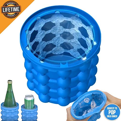 Ice Cube Maker Genie   Silicon Ice Cube Mold Trays  2018 Upgraded Space Saving Ice Cube Maker   Ice Genie Kitchen Tools
