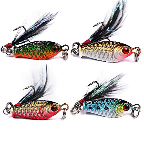 - DOITPE 4PCS Fishing Jigs Spoon Fishing Lures Sinking Jig Fish Baits Nickel Treble Hooks with Feather Metal Sequins Bait in Freshwater and Saltwater (Combo-A(4PCS))