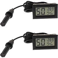 F Fityle 2X Mini Probe Digital LCD Thermometer Hygrometer Humidity Meter Temp Tester, for Fish Tank Aquarium