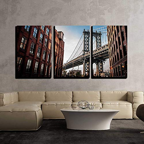wall26 - 3 Piece Canvas Wall Art - Manhattan Bridge Seen from a Narrow Alley Enclosed by Two Brick Buildings - Modern Home Decor Stretched and Framed Ready to Hang - 24