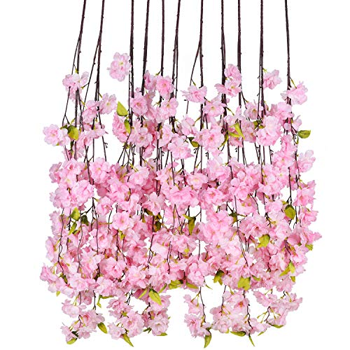 DearHouse 6 Pack Cherry Blossom Artificial Flowers Garland Hanging Vine Silk Garland Wedding Party Home Decor from DearHouse