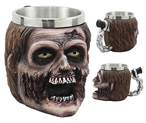 Ebros Walking Dead Impaled Zombie Head Mug With Chained Dagger Handle Beer Stein Beverage Tankard Coffee Cup 12oz Zombie Apocalypse Collection ()