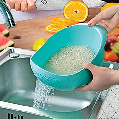PRAMUKH FASHION ABS Plastic 11 Inch Multi Color Rice Bowl Rice Pulses Fruits Vegetable Noodles Pasta Washing Bowl & Strainer Good Quality & Perfect Size for Storing and Straining. Colander Random Colors 8