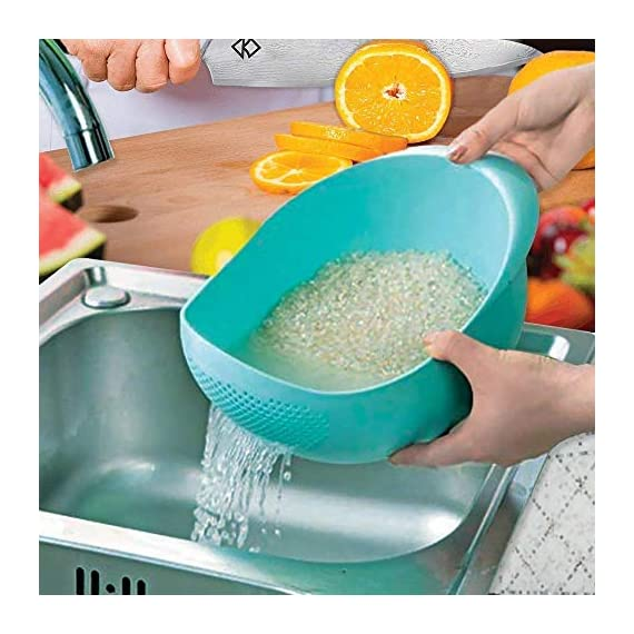 PRAMUKH FASHION ABS Plastic 11 Inch Multi Color Rice Bowl Rice Pulses Fruits Vegetable Noodles Pasta Washing Bowl & Strainer Good Quality & Perfect Size for Storing and Straining. Colander Random Colors 2