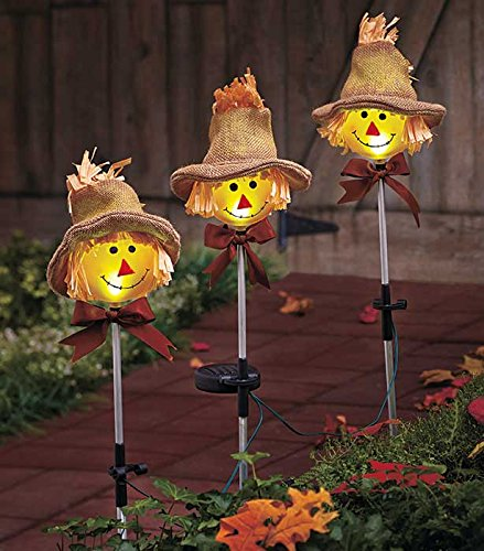 Set of 3 Whimsical Cute Autumn Harvest Scarecrow Outdoor Yard Garden Stake Christmas Decor (Halloween Yard Stake Lights)