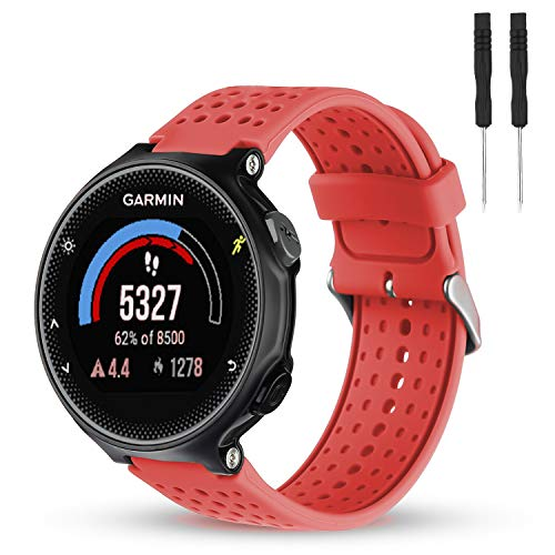 Wizvv Compatible Bands Replacement for Garmin Forerunner 235 220 230 620 630 735, Soft Comfortable Smooth Silicone Wristband for Women Men (Red)