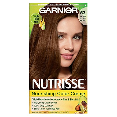 Garnier Nutrisse Nourishing Color Treatment with Fruit Oil Concentrates, Level 3 Permanent, Medium Golden Brown 53 (Pack of 3)