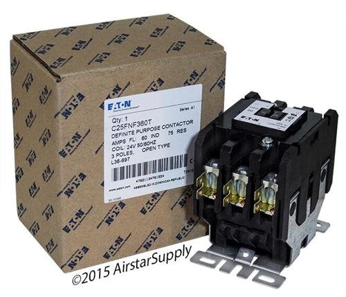 Contactor 480vac Coil Pole Single (Eaton C25FNF360T Definite Purpose Contactor, 50mm, 3 Poles, Box Lugs, Quick Connect Side By Side Terminals, 60A Current Rating, 5 Max HP Single Phase at 115V, 20 Max HP Three Phase at 230V, 40 Max HP Three Phase at 480V, 24VAC Coil Voltage)