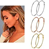3 Pairs Big Hoop Earrings, Stainless Steel Hoop Earrings in Gold Plated Rose Gold Plated Silver for Women Girls