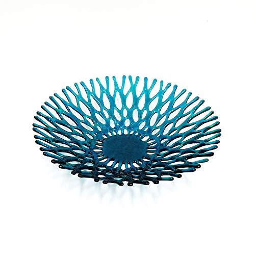 Fused Glass Art Coral Fruit Bowl in Teal Blue Green (Bowl Green Art Glass)