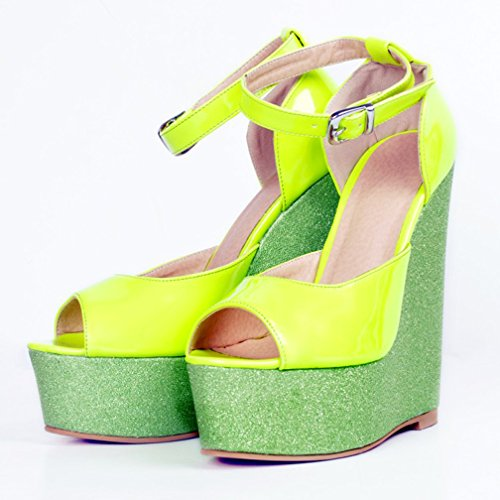 Party Peep Patchwork Dress Pumps Heel Toe Womens Wadge Shoes Buckle Strap Summer CASSOCK Green Handcrafted XTqPAExw7v