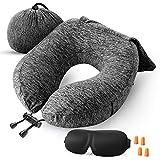 ZAMAT Travel Pillow, Comfortable Memory Foam Neck Pillow, Adjustable Camping Car Train Flight