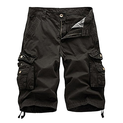 (JJLIKER Mens Cargo Shorts Relaxed Fit Multi-Pocket Summer Outdoor Wear Cotton Big & Tall SizesHalf Pants Lightweight Dark Gray)