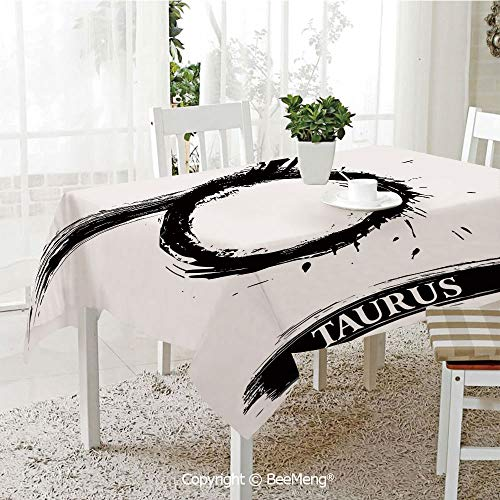 (BeeMeng Spring and Easter Dinner Tablecloth,Kitchen Table Decoration,Taurus,Brushstroke Style Zodiac Sign Form Personality Artistic Astrology Calendar Artwork Decorative,Black White,59 x 83 inches)
