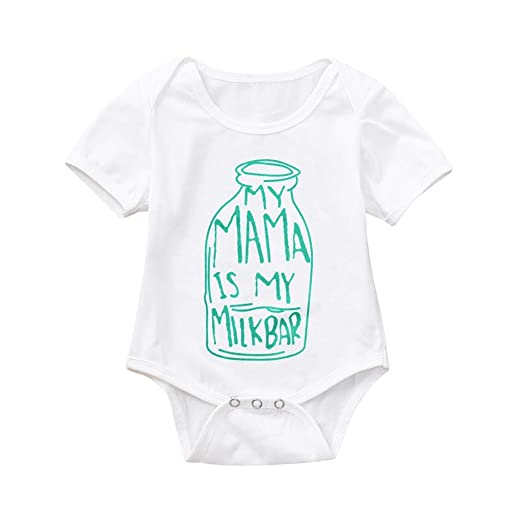 7151cd1a443 Amazon.com  Newborn Baby Girls Summer Mama is My Milk Bar Letter Print  Short Sleeve Bodysuit Romper One Piece Jumpsuit  Clothing