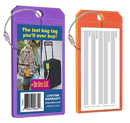 - Brite I.D. Neon Purple/Orange Luggage Tag Combo Pack, Set of 2