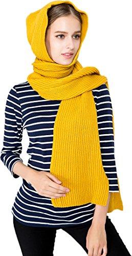 Ababalaya Women's 50''×9'' Winter Warm Soft Solid Knitted Ski Hood Long Scarf Wrap,Yellow by Ababalaya