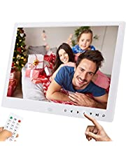 AILRINNI Digital Photo Frame 12 inch - Digital Picture Frame Full HD with Music/Video/Calendar/Alarm Clock, Digital Video Photo Booth Frame with Remote Control, NonTouch Screen