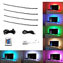 Bonlux HDTV Flat Screen Flexible USB TV Backlight Strip - RGB Color Home Theater TV USB Backligting Strip lights Kits, 4x50cm LED Tape Light Strip, Waterproof 5V USB Power Background Light for TV/Computer/Laptop/Desktop PC Backlight LED Strip Lighting (RGB)