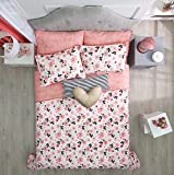 LIMITED EDITION LOVE TEENS GIRLS REVERSIBLE COMFORTER SET AND EMBROIDERED SHEET SET 6 PCS TWIN SIZE