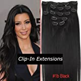 """15"""" Inch Clip In On Human Hair Extensions_7pcs Natural Black_1b_Remy Human Hair Full Head Straight_70g Weight"""